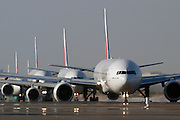 Airbusses line up at Dubai airport