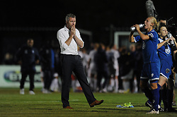 Bristol manager, Willie Kirk cuts a dejected figure as Bristol Academy Womens lose 0-3 to Birmingham City Ladies - Mandatory byline: Dougie Allward/JMP - 07966386802 - 05/09/2015 - FOOTBALL - SGS Wise Campus -Bristol,England - Bristol Academy Womens v Birmingham City Ladies - FA Womens Super League