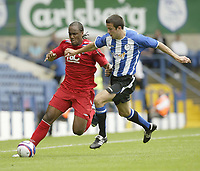 Photo: Aidan Ellis.<br /> Sheffield Wednesday v Birmingham City. Pre Season Friendly. 04/08/2007.<br /> Birmingham's Cameron Jerome (L) battles with wednesday's Richard Wood