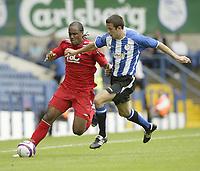 Photo: Aidan Ellis.<br /> Sheffield Wednesday v Birmingham City. Pre Season Friendly. 04/08/2007.<br /> Birmingham's Cameron Jerome (L) battles with wednesday's Richard Wood