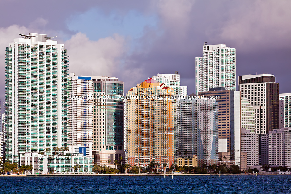 Downtown Miami condominium, apartment and office buildings on Biscayne Bay.