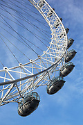 Pods on the London Eye, London, UK. The London Eye is a giant Ferris wheel on the South Bank of the River Thames in London. Also known as the Millennium Wheel, its official name was originally the British Airways London Eye, then the Merlin Entertainments London Eye, and since January 2011, the EDF Energy London Eye.