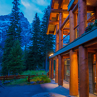 The Canadian Rockies rise above Moraine Lake Lodge .