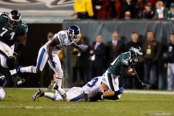 Philadelphia Eagles wide receiver DeSean Jackson #10 is tackled during the NFL Game between the Indianapolis Colts and the Philadelphia Eagles. The Eagles won 26-24 at Lincoln Financial Field in Philadelphia, Pennsylvania on Sunday November 7th 2010. (Photo By Brian Garfinkel)