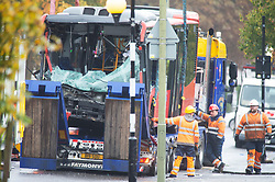 ©Licensed to London News Pictures 01/11/2019.<br /> Orpington,UK. The 2nd bus (358) being removed from the scene, view of the front of the bus. One person is dead and 15 others have been injured in a crash between two buses and a car last night in Orpington, South East London. A man has been arrested for dangerous driving. Police are still on scene and a cordon is in place. Photo credit: Grant Falvey/LNP