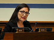 Rep. Deb Haaland (D-NM) listens at a Congressional hearing examining lessons from the civil rights movement on combating efforts to suppress the right to vote and how many of these lessons are particularly urgent in the face of similar voter suppression efforts today.
