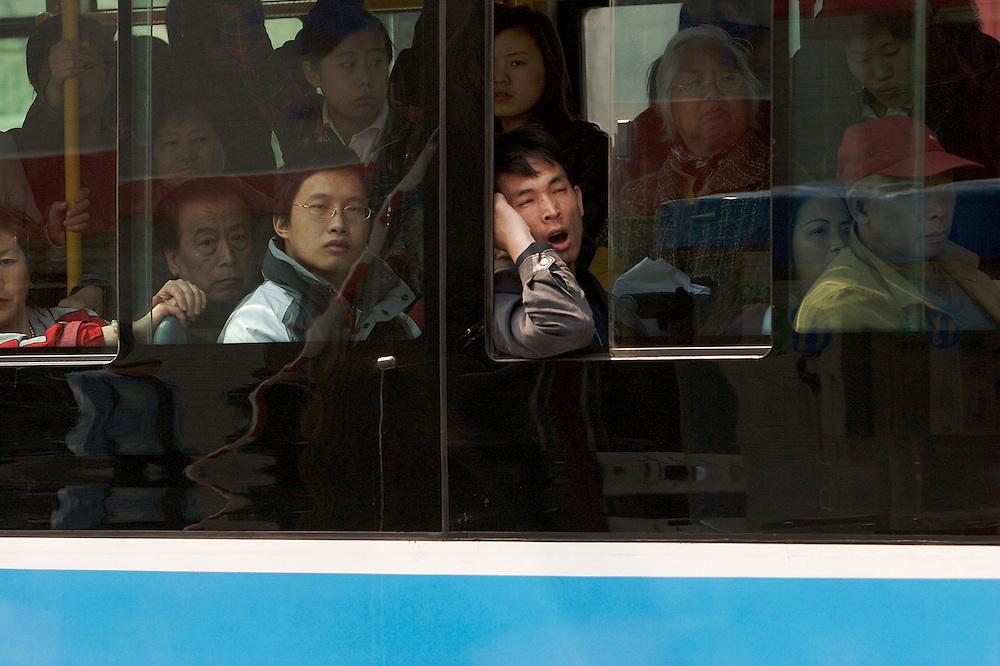 An afternoon bus in Xinjiekou area of Beijing, China.