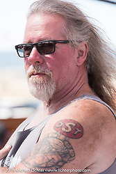"""The Horse Magazine's """"Englishman"""" David Gregory during the Annual Sturgis Black Hills Motorcycle Rally.  SD, USA.  August 7, 2016.  Photography ©2016 Michael Lichter."""