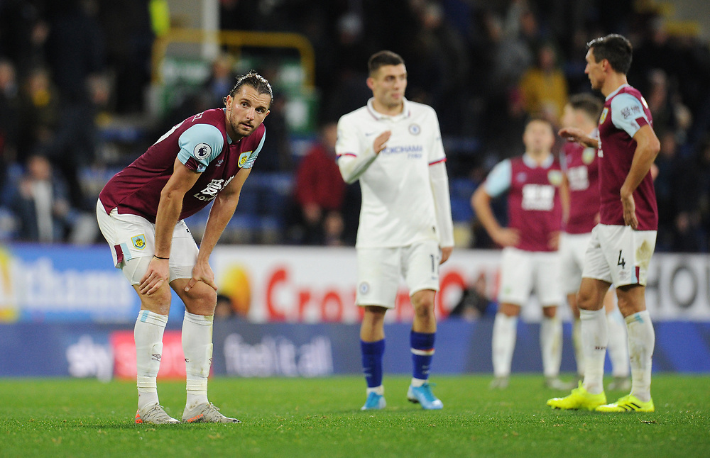 Burnley's Jay Rodriguez looks dejected at the final whistle<br /> <br /> Photographer Kevin Barnes/CameraSport<br /> <br /> The Premier League - Burnley v Chelsea - Saturday 26th October 2019 - Turf Moor - Burnley<br /> <br /> World Copyright © 2019 CameraSport. All rights reserved. 43 Linden Ave. Countesthorpe. Leicester. England. LE8 5PG - Tel: +44 (0) 116 277 4147 - admin@camerasport.com - www.camerasport.com