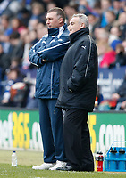Photo: Steve Bond/Richard Lane Photography. Leicester City v Cardiff City. Coca Cola Championship. 13/03/2010. Managers Dave Jones (R) and Nigel Pearson (L) chat amicably