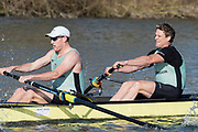 Henley on Thames, UK, 17th February 2019,  Pre Boat Race Fixture,  Cambridge University Blue Boat and Reserve, Goldie, Race over Henley Reach, Two crews from Leander Club, Rowing at two, [Right], James CRACKNELL, England, [Mandatory Credit/ Peter SPURRIER/Intersport Images]