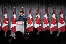 July 5, 2018 - Brampton, Spain - Justin Trudeau, Leader of the Liberal Party of Canada, speaking to supp orters at a Liberal fundraising event in Brampton, Canada on July 5, 2018. (Credit Image: © Arindam Shivaani/NurPhoto via ZUMA Press)