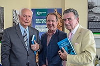 "Robert J Savage, the author of ""The BBC's Irish Troubles"" with former BBC executives, Cecil Taylor, left, and Robin Walsh at the launch of his book in Belfast, N Ireland, 4th June 2014. Cecil Taylor was the first television journalist appointed by BBC-NI later holding the posts of regional news editor and head of programmes.  Walsh went on to became Editor of the Network Nine O'Clock News and later Controller NI. Savage, the author of a number of Irish-themed publications, is Professor of the Practice of History  at Boston College, Massachusetts, USA. 201506043895<br />