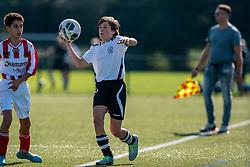 Pepijn #3 of VV Maarssen in action. VV Maarssen O14-1 played the first competition match against Geinoord JO14-1. Maarssen won 2-0 on September 5, 2020 at Daalseweide sports park Maarssen.