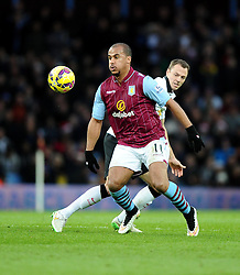 Aston Villa's Gabriel Agbonlahor battles for the ball with Manchester United's Jonny Evans  - Photo mandatory by-line: Joe Meredith/JMP - Mobile: 07966 386802 - 20/12/2014 - SPORT - football - Birmingham - Villa Park - Aston Villa v Manchester United - Barclays Premier League