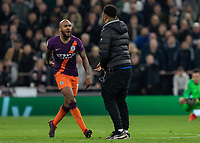 Football - 2018 / 2019 UEFA Champions League - Quarter Final , First Leg: Tottenham Hotspur vs. Manchester City<br /> <br /> Fabian Delph (Manchester City) confronts a pitch invader at White Hart Lane Stadium.<br /> <br /> COLORSPORT/DANIEL BEARHAM