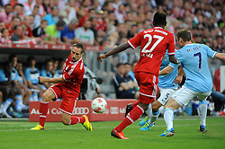 01.08.2013, Allianz Arena, Muenchen, Audi Cup 2013, FC Bayern Muenchen vs Manchester City, im Bild, v.l.n.r. Franck RIBERY (FC Bayern Muenchen), David ALABA (FC Bayern Muenchen) und James MILNER (Manchester City) // during the Audi Cup 2013 match between FC Bayern Muenchen and Manchester City at the Allianz Arena, Munich, Germany on 2013/08/01. EXPA Pictures © 2013, PhotoCredit: EXPA/ Eibner/ Wolfgang Stuetzle<br /> <br /> ***** ATTENTION - OUT OF GER *****