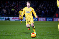 AFC Wimbledon midfielder Jake Reeves (8)  lays the ball forward during the EFL Sky Bet League 1 match between Scunthorpe United and AFC Wimbledon at Glanford Park, Scunthorpe, England on 28 February 2017. Photo by Simon Davies.