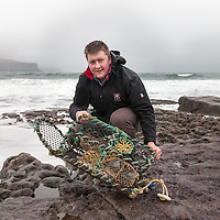 """Stephen O'Connell from Mary Immaculate Secondary School, Lisdoonvarna, showing his study entitled """"follow me into a lobster pot - Lobster preferences when entering"""""""