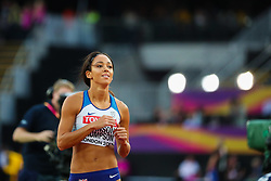 London, August 12 2017 . Katarina Johnson-Thompson, Great Britain, in the women's high jump final on day nine of the IAAF London 2017 world Championships at the London Stadium. © Paul Davey.