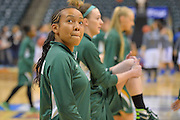 April 4, 2016; Indianapolis, Ind.; Kiki Robertson looks up into the stands before the NCAA Division II Women's Basketball National Championship game at Bankers Life Fieldhouse between UAA and Lubbock Christian. The Seawolves lost to the Lady Chaps 78-73.