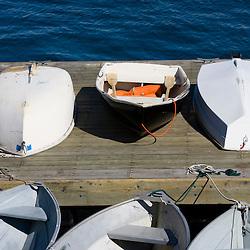 Skiffs on a pier in Castine, Maine.