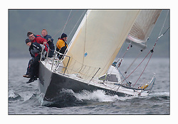 Racing at the Bell Lawrie Yachting Series in Tarbert Loch Fyne. Saturday racing started overcast but lifted throughout the day...GBR4334L Absolutely 2, a Mumm 36 in  Class two.
