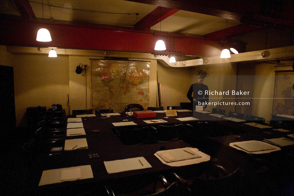 Cabinet War Rooms beneath streets of Whitehall, where cabinet headed by Winston Churchill made decisive plans to fight the second world war.