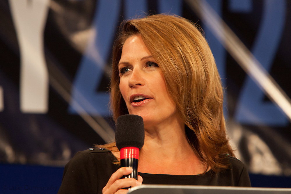 August 26, 2012, Tampa Florida, Michele  Bachmann speaks at the Tea Party's Unity Rally preceding the RNC encouraging supporters to vote for the Romney ticket. Michele  Bachmann, a Republican and former member of the United States House of Representatives, who represented Minnesota's 6th congressional district, a post she held from 2007 - 2014.