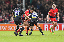 Bryce Heem of Worcester Warriors is tackled by Gareth Steenson of Exeter Chiefs - Mandatory by-line: Craig Thomas/JMP - 10/02/2018 - RUGBY - Sandy Park Stadium - Exeter, England - Exeter Chiefs v Worcester Warriors - Aviva Premiership