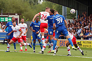 AFC Wimbledon striker Joe Pigott (39) scoring goal to make it 1-1 during the EFL Sky Bet League 1 match between AFC Wimbledon and Rotherham United at the Cherry Red Records Stadium, Kingston, England on 3 August 2019.