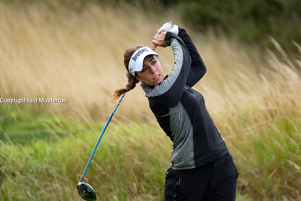 Gleneagles, Scotland, UK; 10 August, 2018.  Day three of European Championships 2018 competition at Gleneagles. Men's and Women's Team Championships Round Robin Group Stage. Four Ball Match Play format.  Pictured; Georgia Hall of GB tees off in match against Belgium.