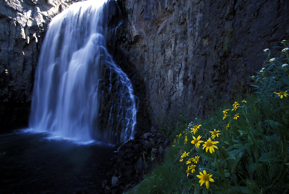 Rainbow Falls, located in Reds Meadow, part of the Ansel Adams Wilderness, in Mammoth Lakes, CA.
