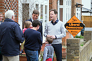 © Licensed to London News Pictures. 26/04/2015. Sutton, UK. NICK CLEGG, PAUL BURSTOW. Deputy Prime Minister and Leader of the Liberal Democrats Nick Clegg makes a speech today, 26th April 215 in Sutton, to local Liberal Democrats in support of the candidate for Sutton and Cheam, Paul Burstow. Nick Clegg and Paul Burstow also joined local campaigners to deliver leaflets on a nearby street, and put up a Liberal Democrat stakeboard.. Photo credit : Stephen Simpson/LNP