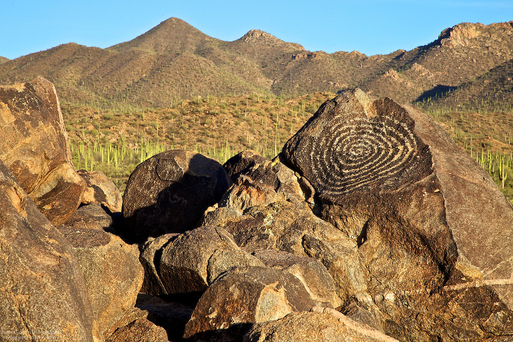 Spiral petroglyph at Signal Hill in the Tucson Mountain District of Saguaro Nattional Park