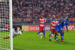 October 22, 2017 - Rades, Tunisia - GK, Reyaad Pieterse of Super Sport Utd in action during the Semi-final return of the CAF Cup between Club Africain (CA) and Supersport United FC of South Africa at the stadium of Rades  in Tunis..Club Africain lost (1-3) against the South African Super Sport Utd who will face TP Mazembe in the final. (Credit Image: © Chokri Mahjoub via ZUMA Wire)