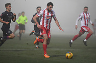 Stevenage forward Danny Newton(11) runs forward during the FA Cup match between Stevenage and Swansea City at the Lamex Stadium, Stevenage, England on 9 January 2021.