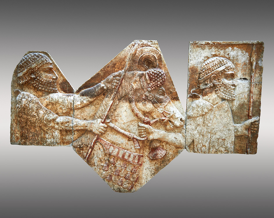 Stone relief sculptured panel of tributaries. From corridor 10,  Inv AO 1433/19899/19895 from Dur Sharrukin the palace of Assyrian king Sargon II at Khorsabad, 713-706 BC.  Louvre Museum Room 4 , Paris