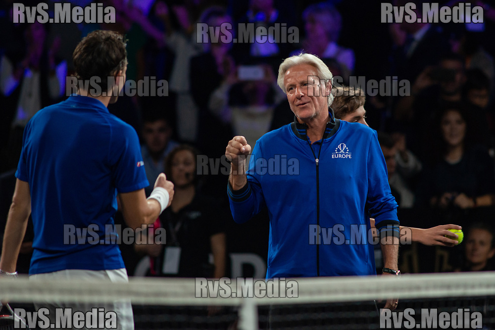 GENEVA, SWITZERLAND - SEPTEMBER 20: Bjorn Borg, Captain of Team Europe celebrates Dominic Thiem of Team Europe victory during Day 1 of the Laver Cup 2019 at Palexpo on September 20, 2019 in Geneva, Switzerland. The Laver Cup will see six players from the rest of the World competing against their counterparts from Europe. Team World is captained by John McEnroe and Team Europe is captained by Bjorn Borg. The tournament runs from September 20-22. (Photo by Monika Majer/RvS.Media)