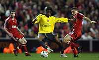 Photo: Paul Thomas.<br /> Liverpool v Arsenal. Carling Cup. 09/01/2007.<br /> <br /> Goal scorer Alexandre Song (Yellow) in action.