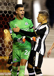 Karl Darlow of Newcastle United celebrates with teammates after saving a penalty from Nicklas Bendtner of Nottingham Forest - Mandatory by-line: Robbie Stephenson/JMP - 02/12/2016 - FOOTBALL - The City Ground - Nottingham, England - Nottingham Forest v Newcastle United - Sky Bet Championship