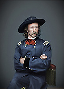 "Stunning portraits from American Civil War  bright back to life in colour<br /> <br /> Major General George Armstrong Custer (December 5, 1839 – June 25, 1876)<br /> <br /> Major General George Armstrong Custer (December 5, 1839 – June 25, 1876) was a United States Army officer and cavalry commander in the American Civil War and the American Indian Wars.<br /> <br /> On June 25, 1876, while leading the 7th at the Battle of the Little Bighorn in Montana against a coalition of Native American tribes, he and all of his battalion, which included two of his brothers, were killed. The battle is popularly known in American history as ""Custer's Last Stand."" Custer and his regiment were defeated so decisively at the Little Bighorn that it has overshadowed all of his prior achievements.<br /> ©Frédéric DurIiez/Exclusivepix Media"