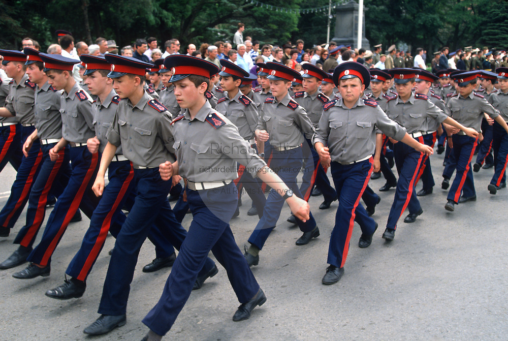 Young Russian Don Cossacks march during a parade at the Don Cossack Military School in Novocherkassk, Russia.