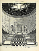 View of a Modern Staircase with Elliptical wall Copperplate engraving From the Encyclopaedia Londinensis or, Universal dictionary of arts, sciences, and literature; Volume II;  Edited by Wilkes, John. Published in London in 1810