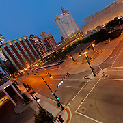 View from second story stairs at Folly Theater at corner of 12th and Central Streets in downtown Kansas City, Missouri.
