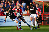 Exeter City's Jayden Stockley is tackled by Lincoln City's James Wilson<br /> <br /> Photographer Chris Vaughan/CameraSport<br /> <br /> The EFL Sky Bet League Two Play Off Second Leg - Exeter City v Lincoln City - Thursday 17th May 2018 - St James Park - Exeter<br /> <br /> World Copyright © 2018 CameraSport. All rights reserved. 43 Linden Ave. Countesthorpe. Leicester. England. LE8 5PG - Tel: +44 (0) 116 277 4147 - admin@camerasport.com - www.camerasport.com