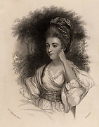 Hester Lynch Thrale (born Hester Lynch Salusbury 1741-1821) British diarist and author.  Friend of many literary figures of the day, particularly of Dr Johnson. After the death of her husband Henry Thrale, in 1784 she married Gabriel Piozzi, an Italian dancing master. Engraving after the portrait by Joshua Reynolds.   From 'Diary and Letters of Madame D'Arblay' by Fanny Burney (London, 1843).