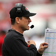 Head coach Jim Harbaugh during an NFL football game between the San Francisco 49ers  and the Tampa Bay Buccaneers on Sunday, December 15, 2013 at Raymond James Stadium in Tampa, Florida.. (Photo/Alex Menendez)