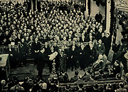 Adolf Hitler is sworn in as Chancellor of Germany 1933 in front of President Hindenburg and key Nazi Leaders.