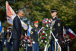 November 11, 2016 - Arlington, United States of America - U.S. President Barack Obama with Major General Bradley A. Becker, Commanding General U.S. Army Military District of Washington, places a wreath at the Tomb of the Unknown Soldier in Arlington National Cemetery November 11, 2016 in Arlington, Virginia. (Credit Image: © Lawrence Jackson/Planet Pix via ZUMA Wire)